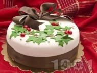 Коледна торта със захарен фондан